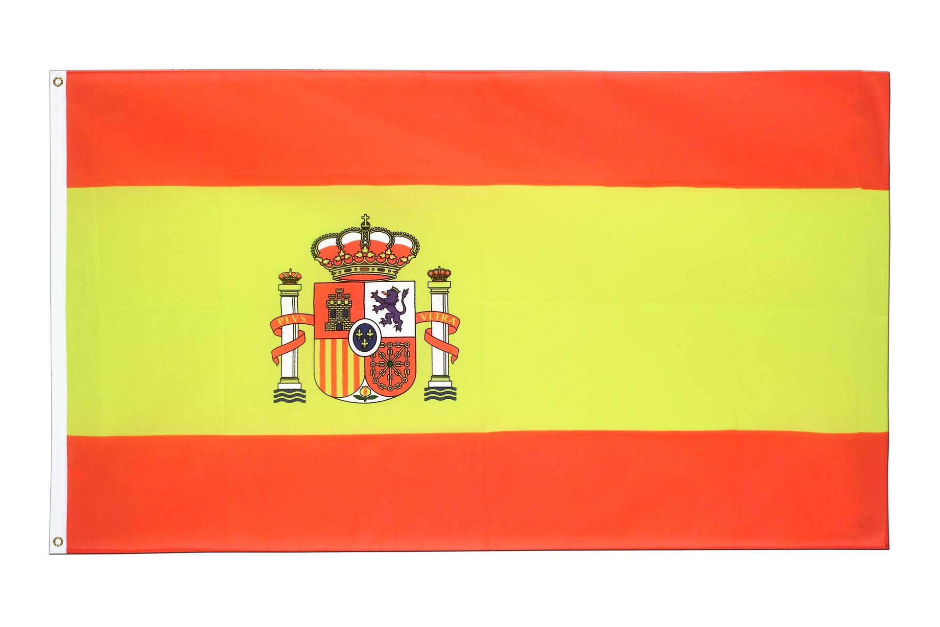 spanien mit wappen flagge 90 x 150 cm kaufen fahnen ch. Black Bedroom Furniture Sets. Home Design Ideas