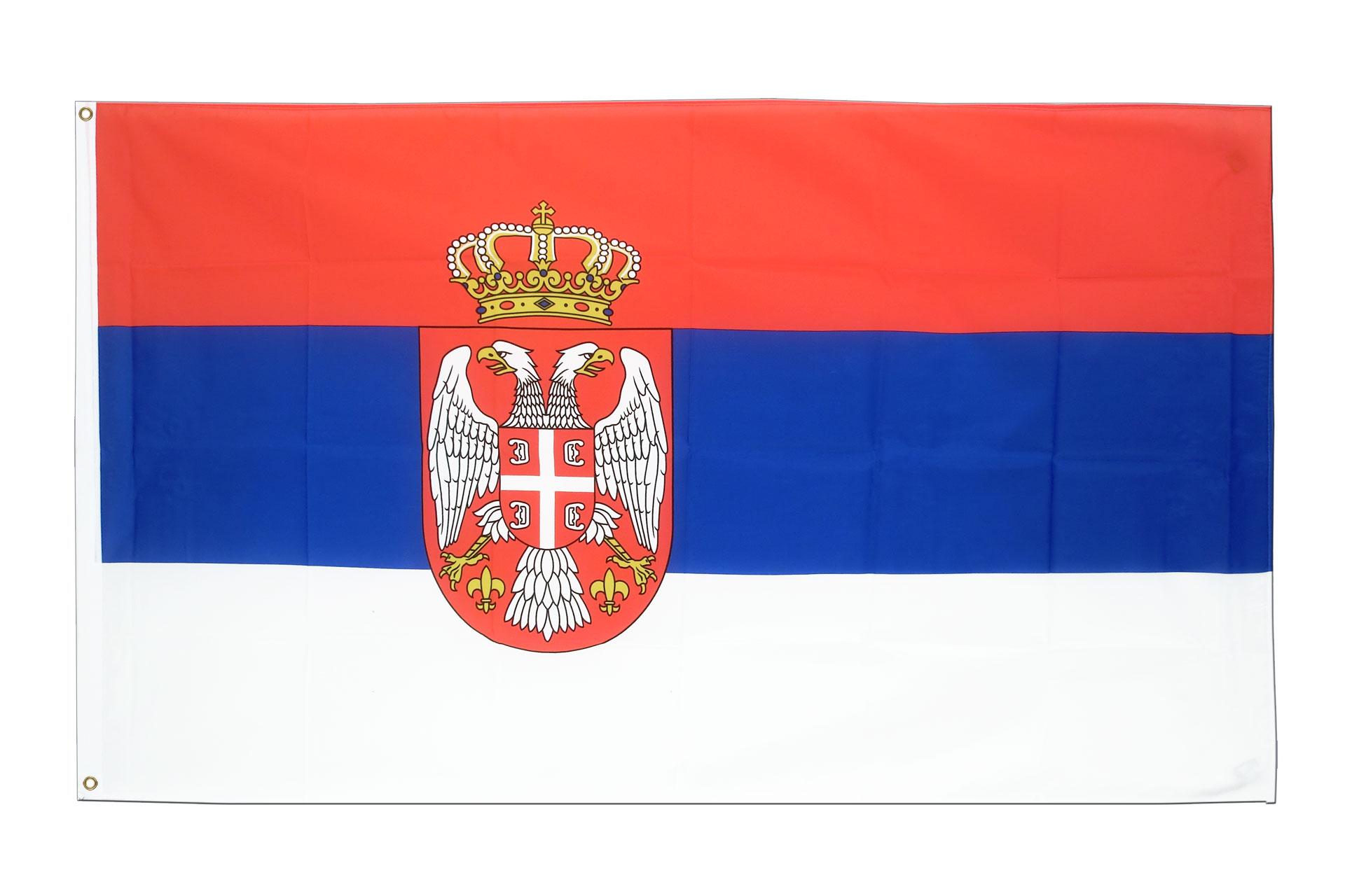 Drapeau pas cher serbie avec blason 60 x 90 cm m des for Drapeau publicitaire exterieur pas cher