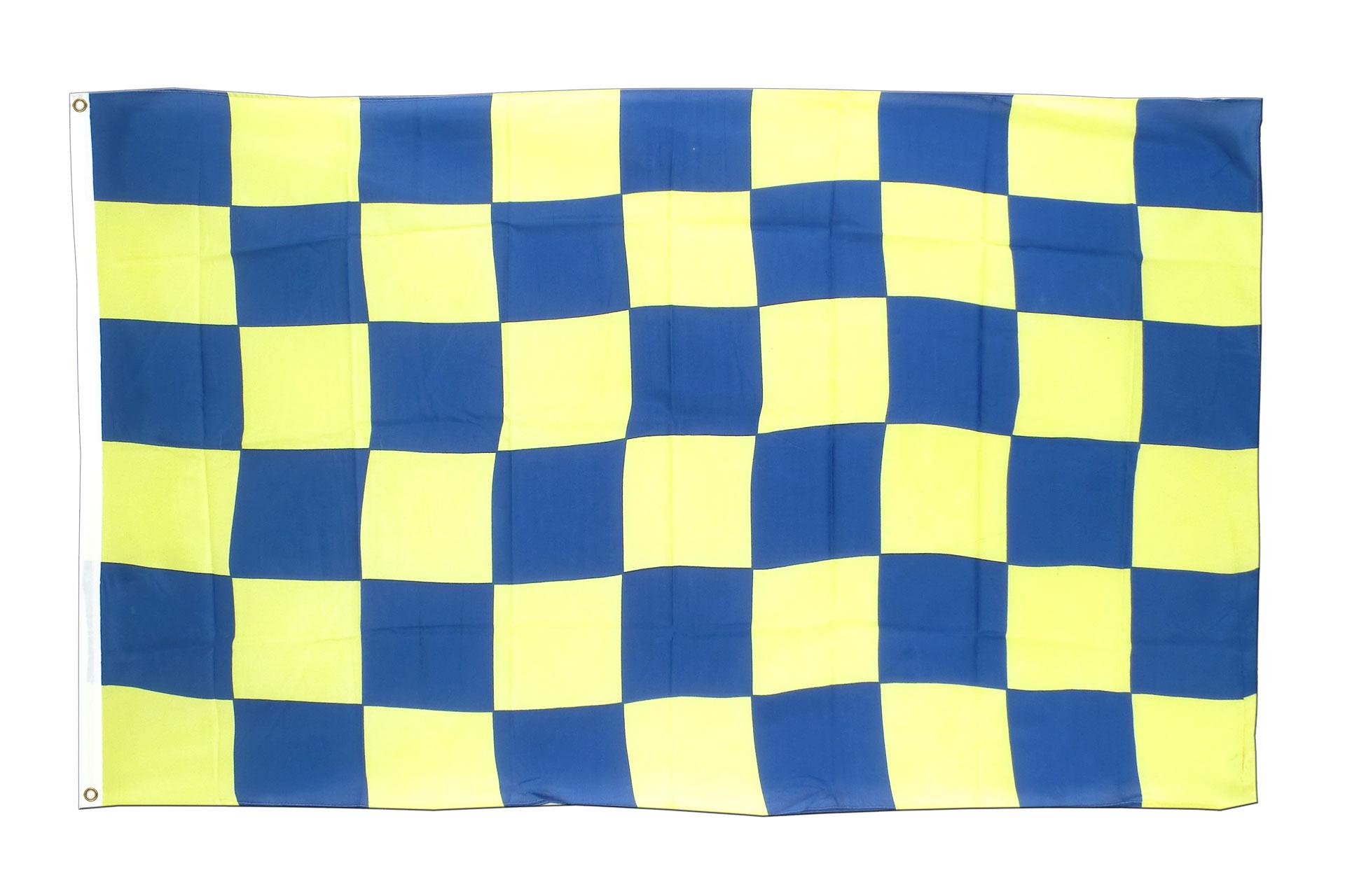 kariert blau gelb flagge blau gelbe fahne 90x150 cm im. Black Bedroom Furniture Sets. Home Design Ideas