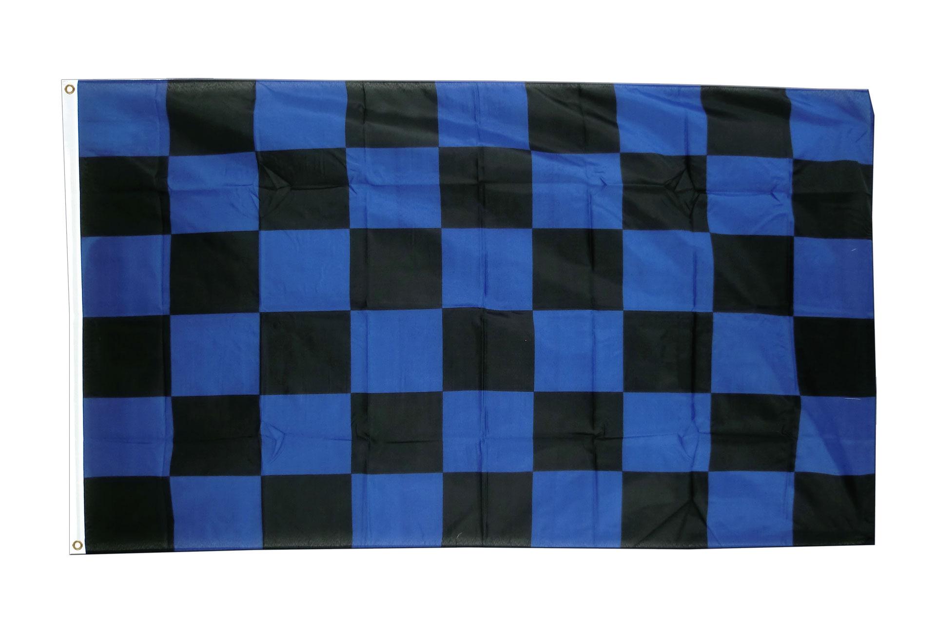 kariert blau schwarz fahne kaufen 90 x 150 cm. Black Bedroom Furniture Sets. Home Design Ideas