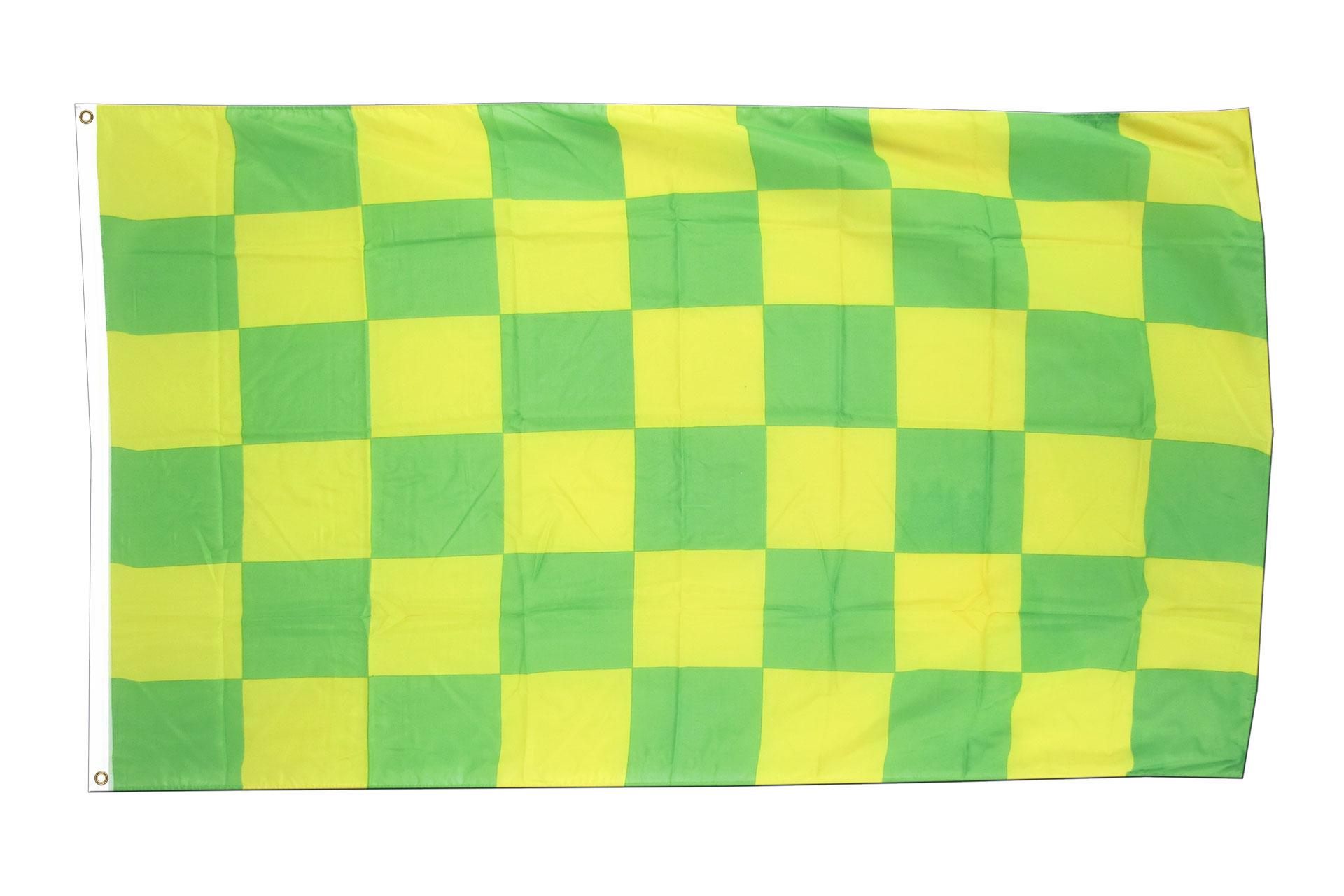 kariert gr n gelb flagge gr n gelbe fahne 90x150 cm im shop kaufen und bestellen. Black Bedroom Furniture Sets. Home Design Ideas