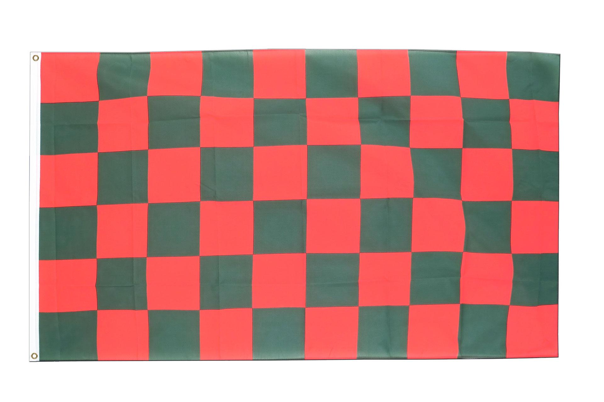Kariert Rot-Grün Fahne Kaufen