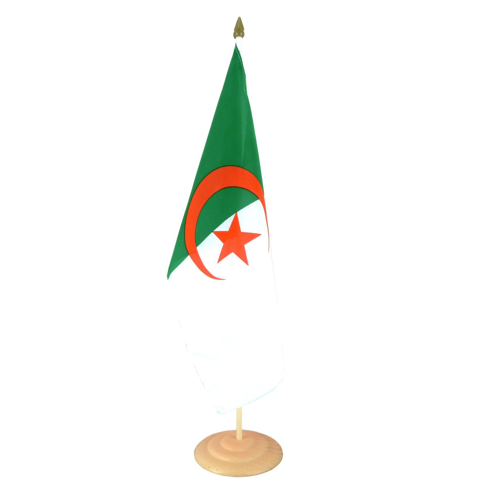 Grand Drapeau De Table Algerie 30 X 45 Cm M Drapeaux