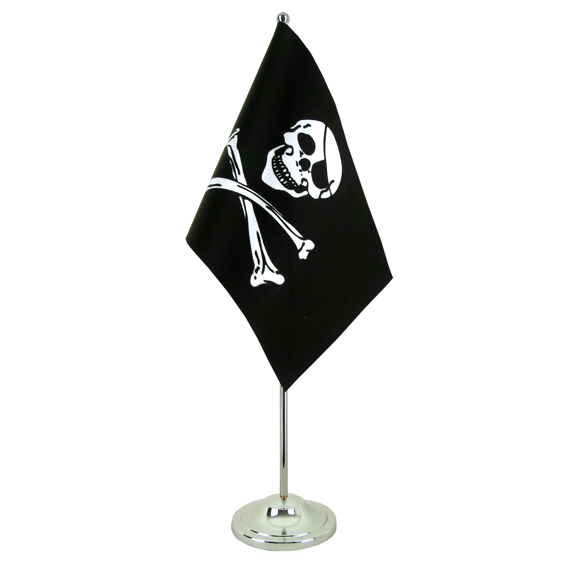 "Satin Table Flag Pirate Skull and Bones - 6x9"" - Royal-Flags"