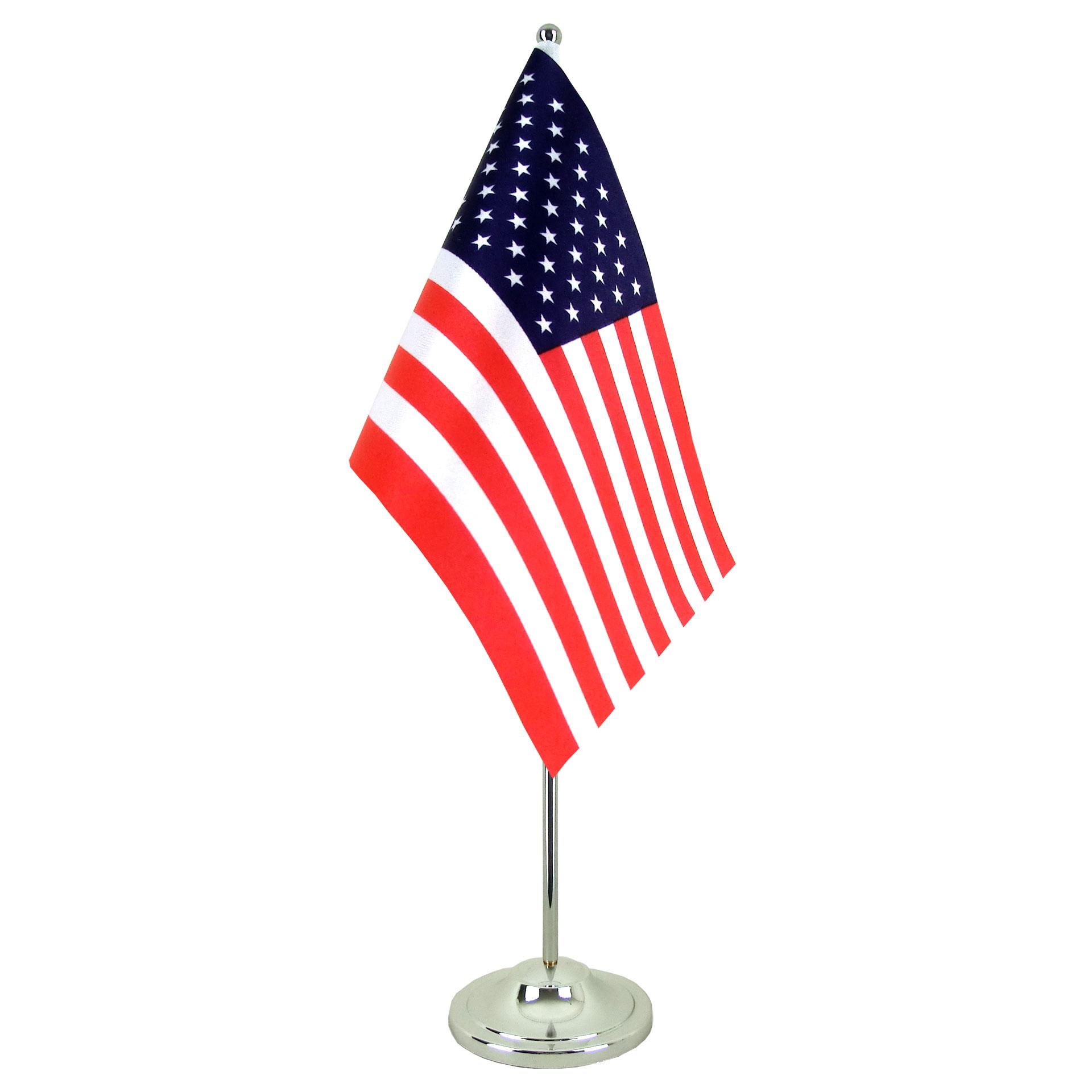 Drapeau de table prestige usa chrom monsieur drapeaux - Drapeau de l amerique ...