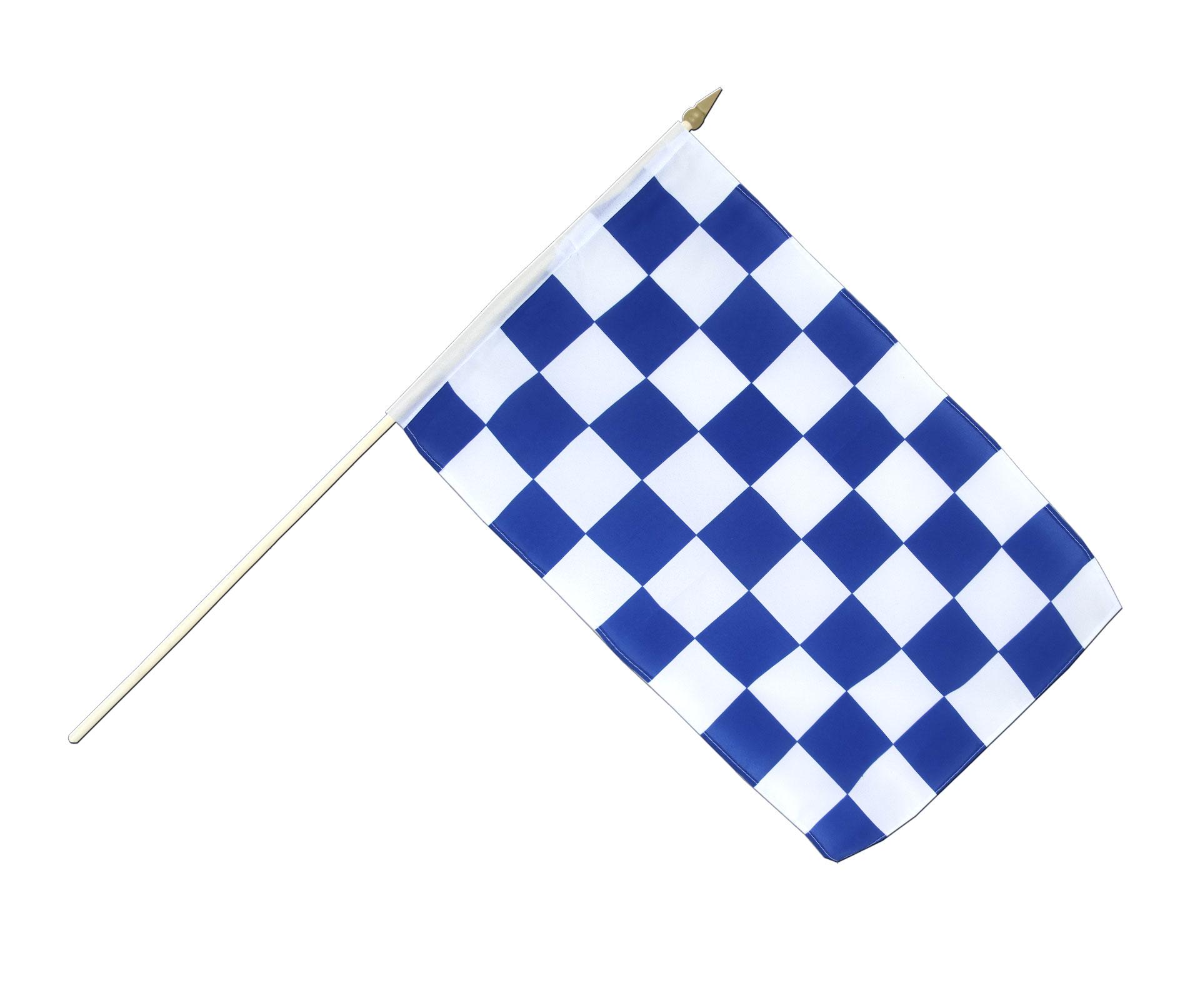 Stockflagge Kariert Blau-Weiß Fahne, Weiss Blaue