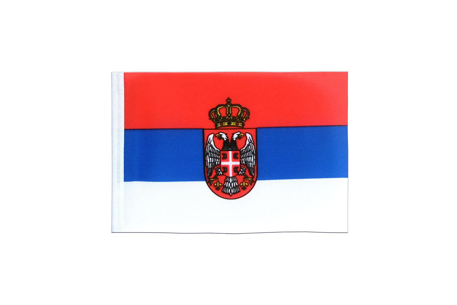 fanion serbie avec blason 10 x 15 cm monsieur des drapeaux