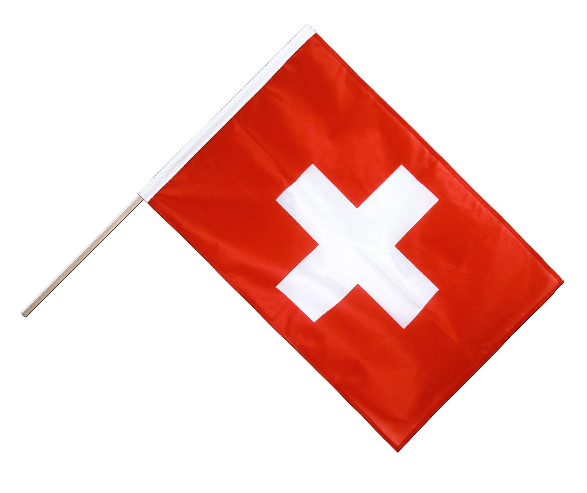schweiz stockflagge pro 60 x 90 cm flaggenplatz online shop. Black Bedroom Furniture Sets. Home Design Ideas