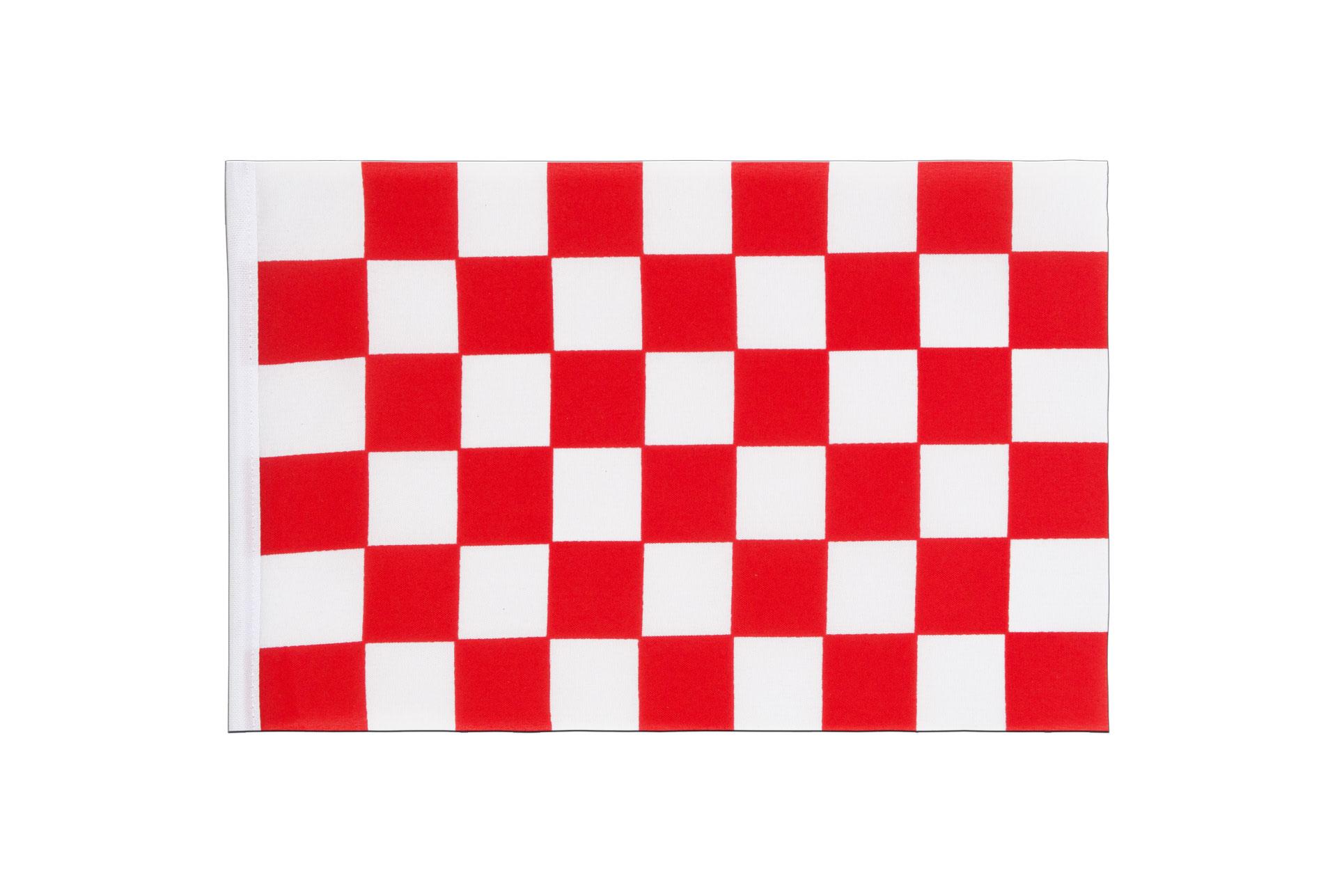 Fanion damier rouge blanc 15 x 22 cm monsieur des drapeaux for Carrelage damier rouge et blanc