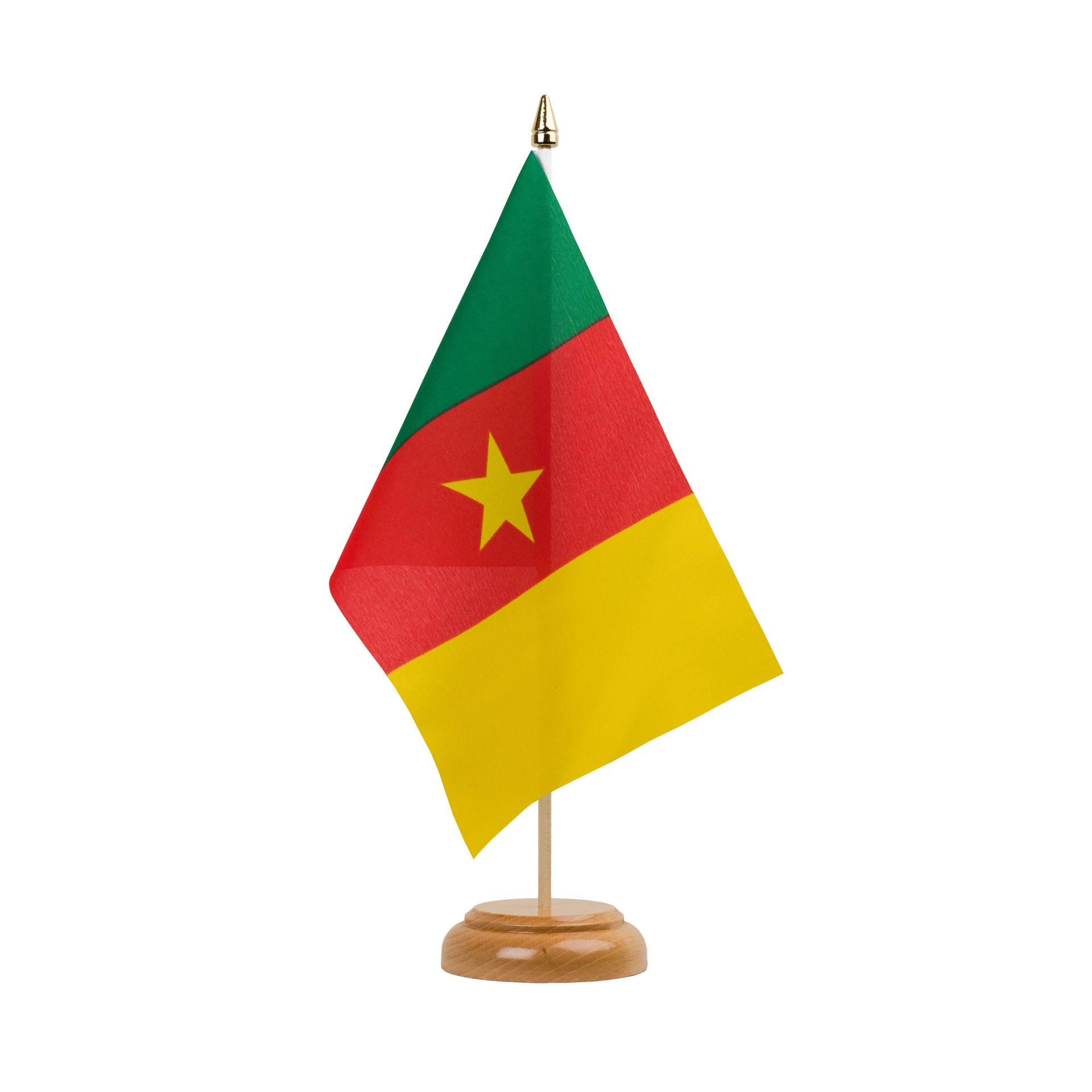 Drapeau De Table Cameroun 15 X 22 Cm Bois Monsieur Drapeaux